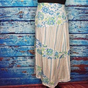 Blue Sky bohemian wrap around maxi skirt